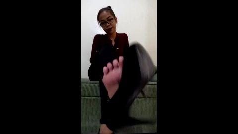 Intense webcam shoe dangling with smoking hot geeky Asian babe