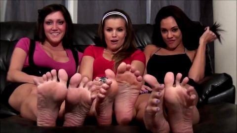 Three stunning college girls get naughty in their first feet JOI threesome