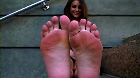 Shy sophisticated lady blackmailed to show her exotic dirty feet