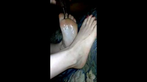 Sexy babe makes my huge black cock cum on her glitter toe nails