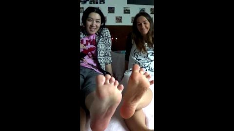 Wonderful amateur girls got their sexy feet tickled and massaged in bed
