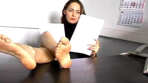 sexy girl barefeet in office and street