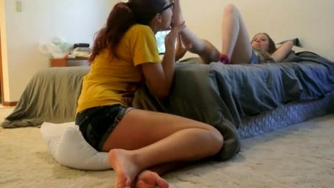 Nerdy redhead teen slowly licking her college girlfriend's soles and toes