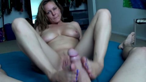 Busty wife with a shaved vagina in our first private footjob action