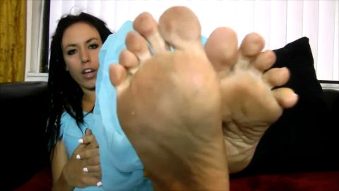 Lovely Muslim babe touching her hot feet in sexy outfit