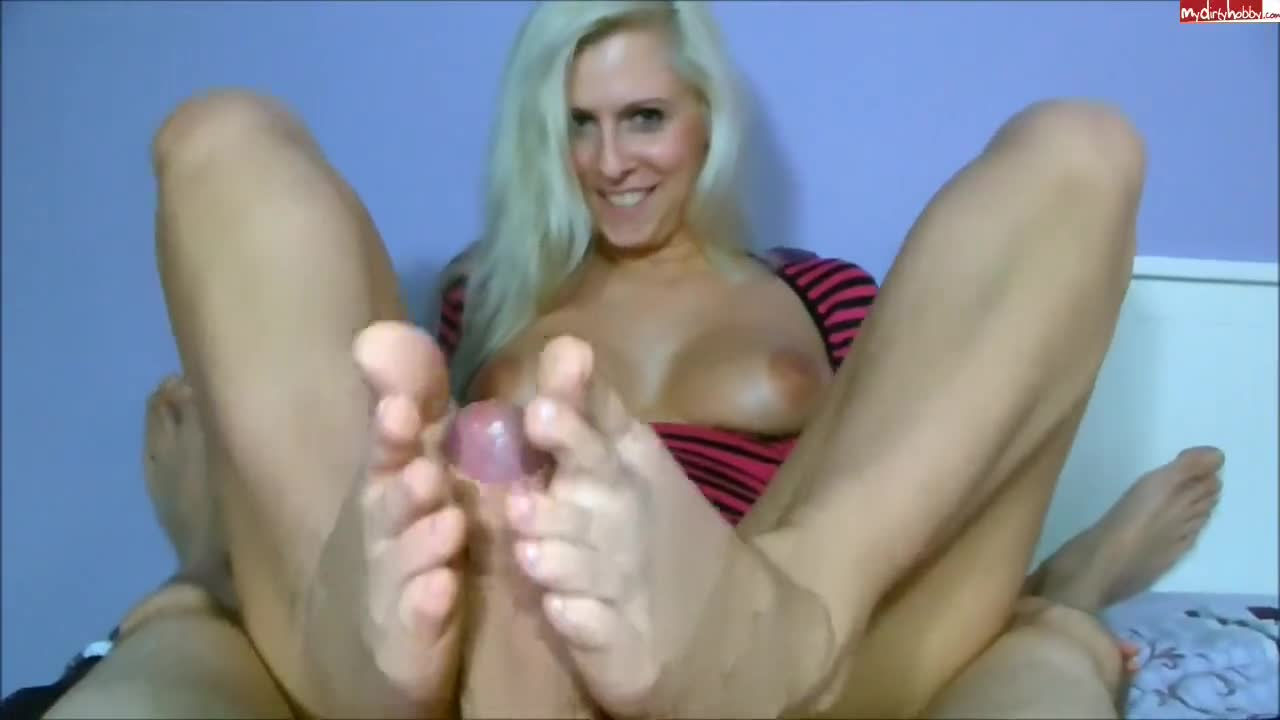Dirty talking slut with hot juggs using her skilled feet on my rock hard  dick - Feet9