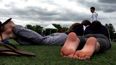 Dirty voyeur captures two smoking hot college babes's feet outdoors