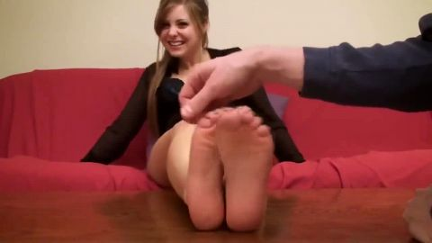 Phenomenal half naked girlfriend gets her hot feet tickled on the sofa