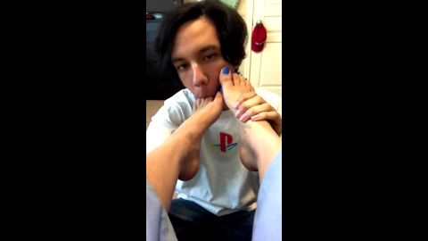 Cute boyfriend kissing and licking my hot feet & toes with blue nail polish
