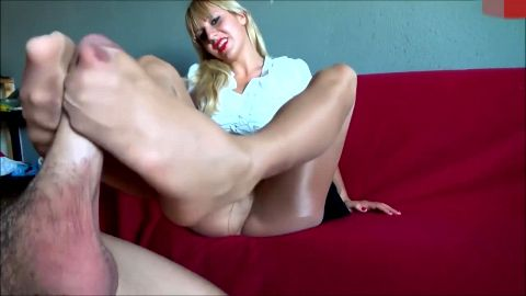 My lovely German mistress in pantyhose knows how much I like her footwork
