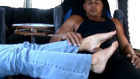 Filmed sexy chick rubbing by black dick with her hot feet in RV van