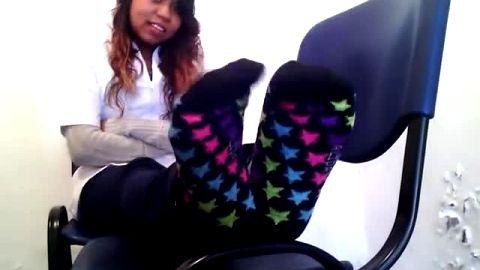 Fetish pharmacist displaying her fantastic amateur ebony feet at work