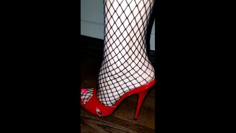 nice red mules in fishnet & sexy feet