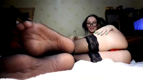 Sexy Russian mistress looks fuckable in black nylon stockings and leopard dress