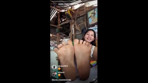 Innocent Asian teen shows her world class naked feet on face time