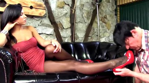 Old pervert worshipping super sexy dark haired Domina's shoes