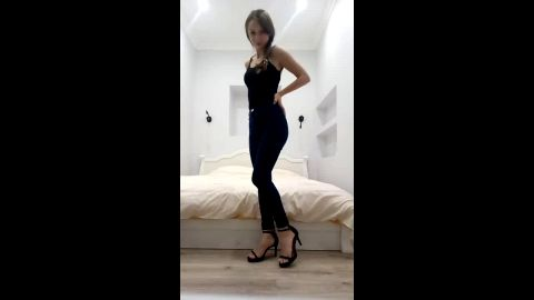 Long legged teen takes her sexy shoes off and flaunts her lovely feet