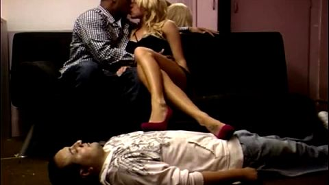 Cuckold enjoys looking at his wife's feet and shoes as she makes out with a stranger
