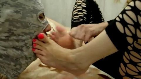 Masked male slave swallowing his hot mistress's toes and long toe nails