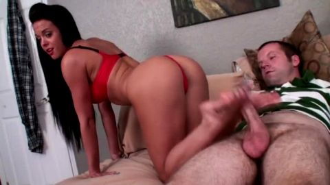 Breathtaking mistress makes her slave lick her jizzy feet after giving him a footjob
