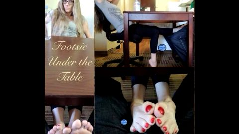 Nerdy gf rubbing her boyfriend's dick with her hot feet under the table