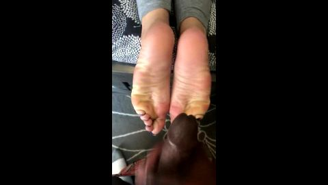 Wild black fella cumming hard on his girlfriend's delicious soles