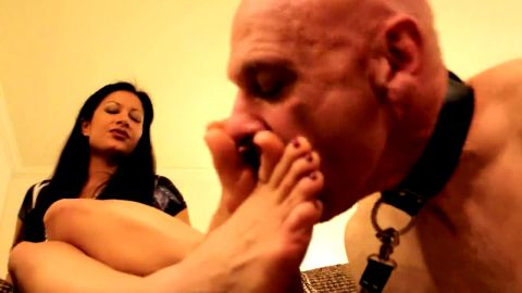 Bald mature foot cleaner gets tortured by his slutty dark haired mistress
