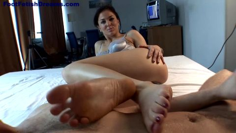 Sexy babe showing feet and making footjob