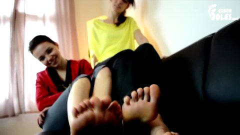 Wonderful college babes flaunt their pretty feet on the leather sofa (Czech Soles)