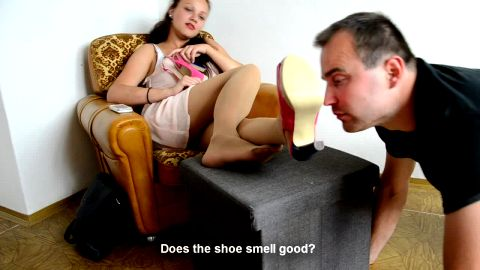 Mistress in dress and nylon stockings gives her slave a nice foot fetish lesson (Czech Soles)