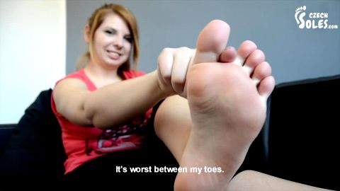 Thick redhead getting rid of her nasty socks and showing soft soles (Czech Soles)