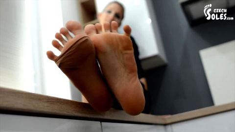 Cute housewife rips off her stockings and poses in the kitchen (Czech Soles)