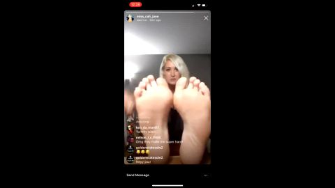 Sexy blonde takes her smelly snickers off and flaunts hot feet on IG