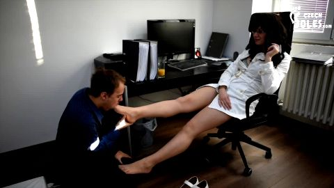 Sexy doctor in uniform tells her slave to rip off nylon from her feet (Czech Soles)