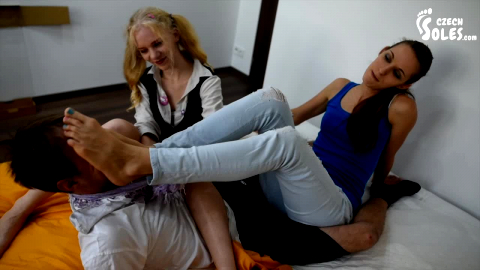 Submissive dude gets tortured and punished by his two cute foot fetish mistresses (Czech Soles)