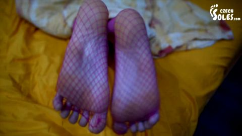 Worshipping my sleepy wifey's sexy feet in fishnet stockings late hours (Czech Soles)