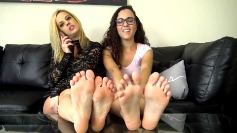 Two exotic amateur chicks having a great feet JOI session in hot outfits