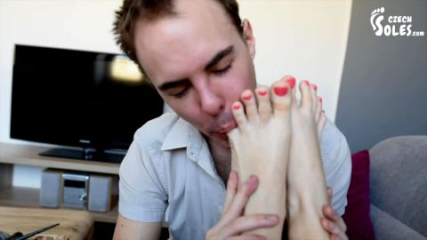 Cute Czech girl lets me film her pretty feet and toes before worshipping them (Czech Soles)