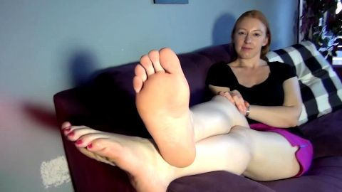 Redhead gets her feet tickled and sniffed after wearing running shoes on them all day