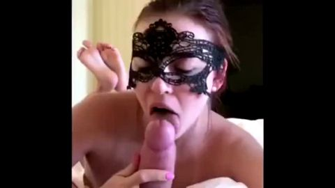 Masked gf takes her high heels off while sucking my dong and shows her feet