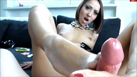 footjob comdom by a hottie german girl