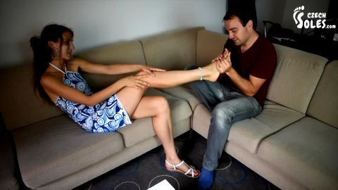 Young brunette in summer dress makes her foot fetish lover super happy (Czech Soles)