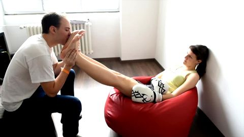 Guy kissing and worshiping his dominant dark haired girlfriend's soles (Czech Soles)