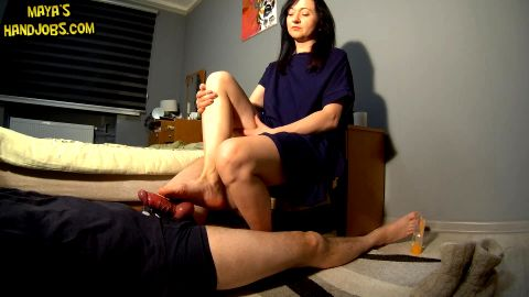 Awesome footjob with ruined orgasm