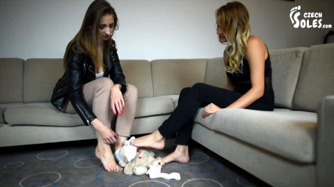 Two gorgeous babes torture stuffed teddy bear with their hot feet Czechsoles