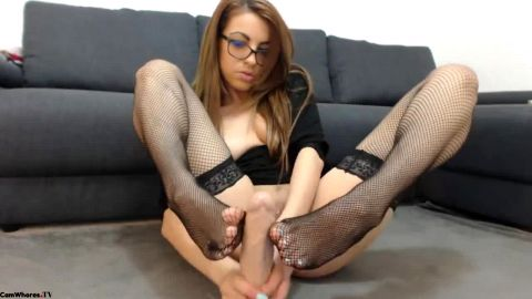 Cam Model in black nylon doing footjob dildo