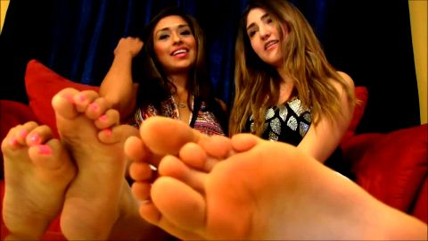 Barefoot sinners having dirty fetish humiliation talk while sitting on the sofa