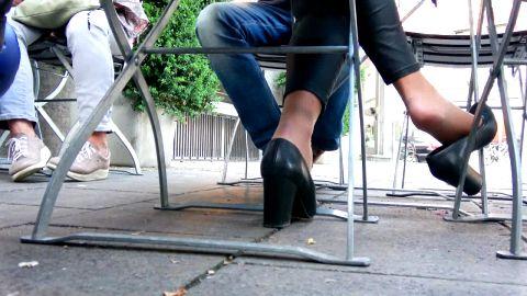 My hidden camera capturing cute girl in public dangling her shoe